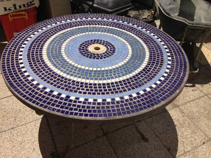 round outdoor tiled table 1220 mm across