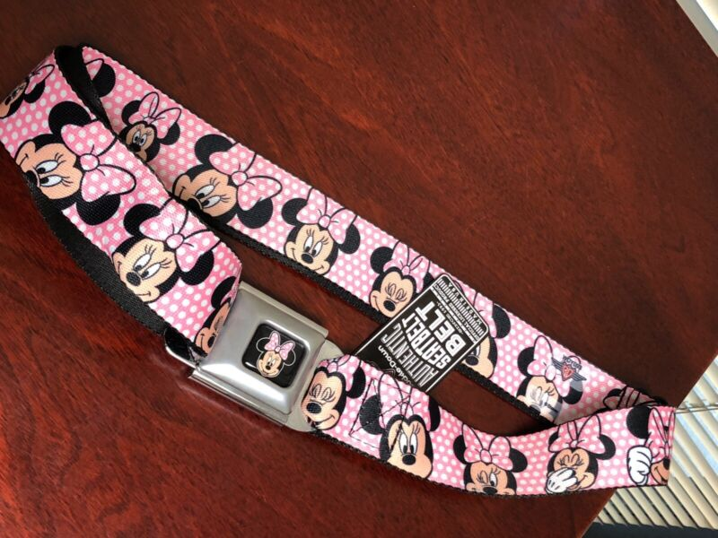 Buckle-Down Seatbelt Belt - Minnie Mouse Expressions Polka Dot Pink/White