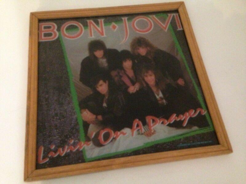 "Bon Jovi Livin On A Prayer Glass Picture of 12"" Vinyl Record Cover Wood Frame US"