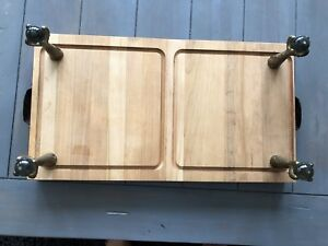 Wood cutting board with antique hardware