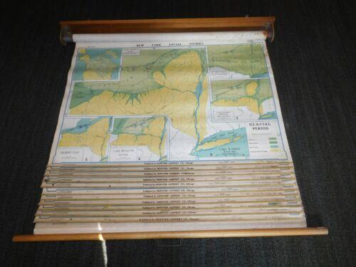 "VINTAGE 1952-54 DENOYER-GEPPERT 12 LARGE 43"" X 32-43"" PULL DOWN SCHOOL MAPS"