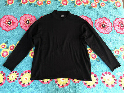 LABO.ART Black Wool Stretch Long Sleeve Top Size 2