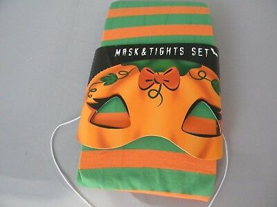 Halloween Mask and Orange and Green  TIghts Size Medium - Orange And Green Tights