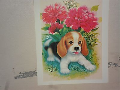 Vintage Decoupage Sheet - Beagle Puppy with Pink Flower