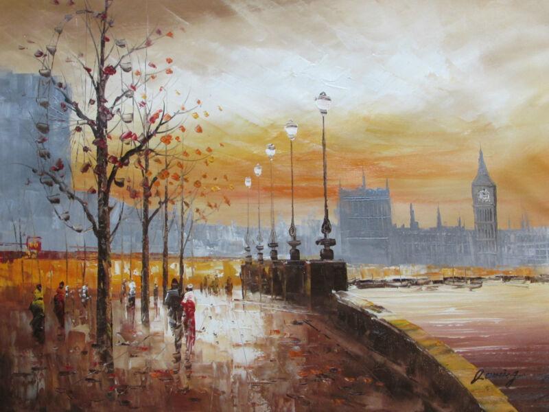 rainy+london+large+oil+painting+canvas+contemporary+cityscape+england+original