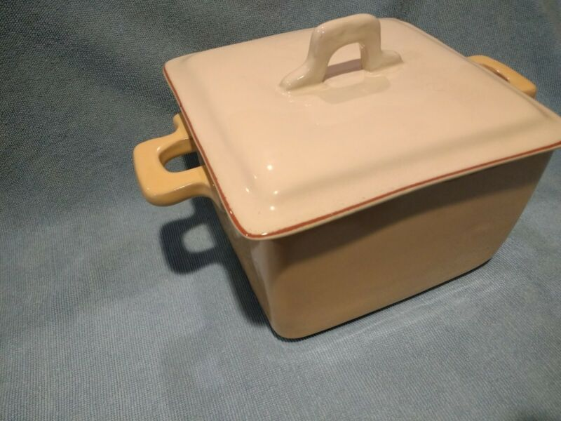 "Vietri Italy Cucina Fresca Square Covered Casserole 6 1/2"" Saffron & Cream"