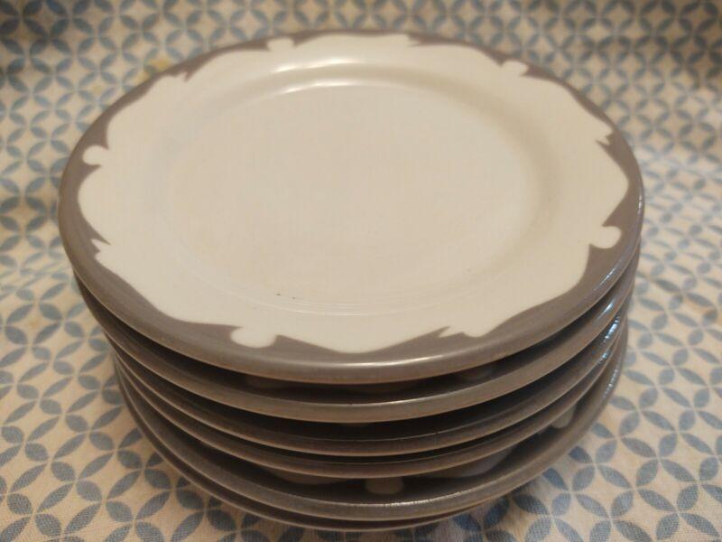 "Vintage BUFFALO CHINA Restaurant Ware Gray Scroll Crest 5.5"" Plates, Set of 6"