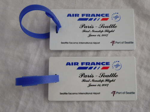 Lot 2 Baggage Luggage Tag Air France First Nonstop Flight Paris - Seattle 2007
