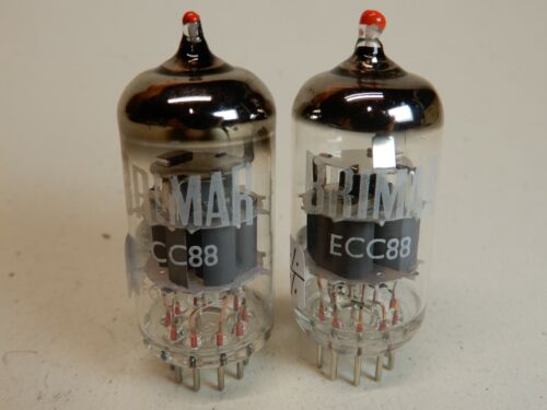 Brimar Steel Pin? ECC88 Vacuum Tubes (2) Red Tipped Amplitrex Strong and Matched