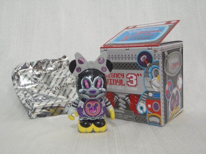 Disney Vinylmation Robot #3 MINNIE MOUSE BOT Clear Purple Polka Dot Bow Figure