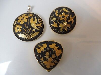 3 Beautiful,Old Decorative Trim __ Powder Box,Brooch and Pendant __ Gold Plated
