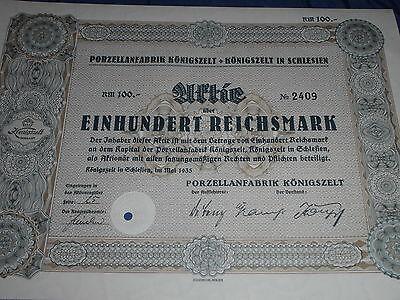 230 : histor.Wertpapier / Aktie : Porzellan Fabrik Königszelt / Schlesien 1935