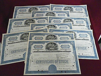 Lot of 10 Old Frisco Railway Company Stock Certificates Railroad 1960's (Blue)