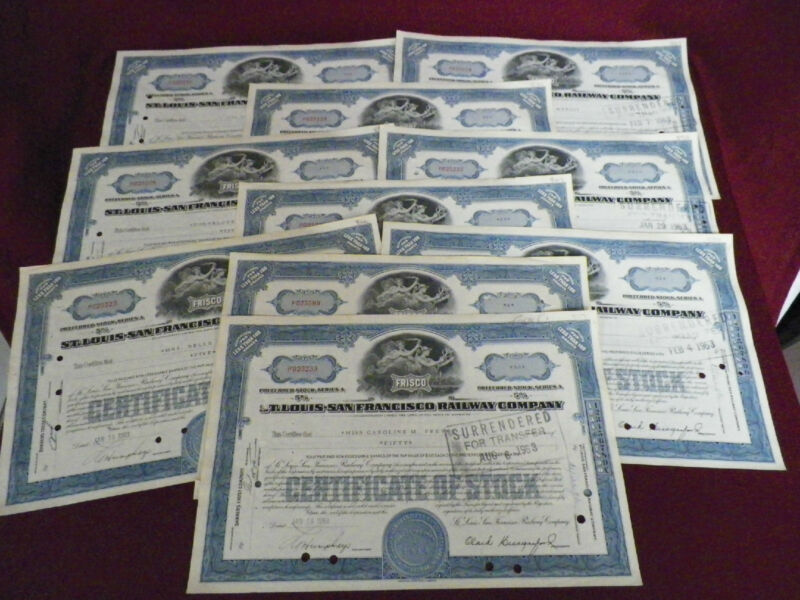 Lot of 10 Old Frisco Railway Company Stock Certificates Railroad 1960