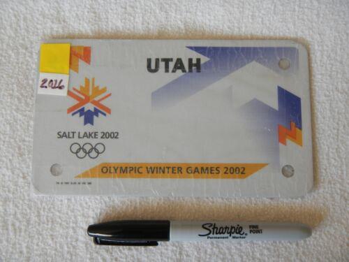 2002 02 UTAH MOTORCYCLE LICENSE PLATE # BLANK OLYMPIC WINTER GAMES SALT LAKE