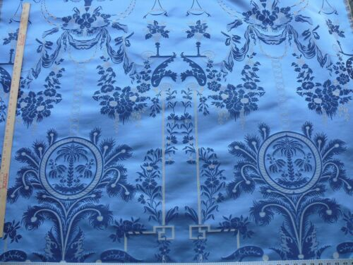 BY REPEAT 1.9Y SCALAMANDRE NEOCLASSICAL MEUSE ORNAMENTAL SILVER BLUE SILK RP$718