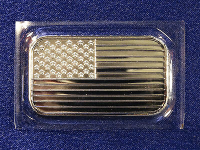 APMEX Uncirculated American Flag Fine .999 Solid Silver 1 oz Bullion Bar  A 1878