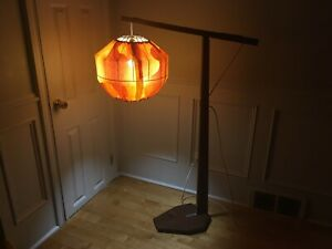 1960s Solid TEAK Cantilevered FLOOR LAMP w MOD Psych SHADE