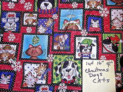 Jkw Quilt Fabric Cats And Dogs Christmas 2006 Exclusive Joann Fabrics 1  Yds