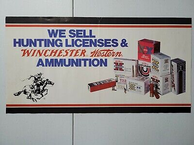 Vintage Winchester Western Hunting Ammo Gun Store Display Advertising Poster