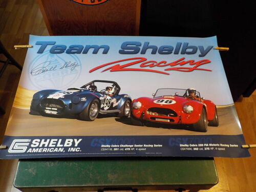 """TEAM SHELBY RACING POSTER 36""""X 24"""" NEW NEVER USED NO PIN HOLES COBRAS CARROLL"""