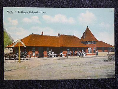 Early 1900S M K    T  Railroad Depot In Coffeyville  Ks Kansas Pc