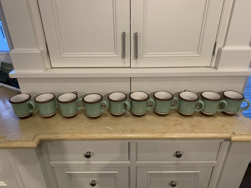 Set Of 10 Dansk Stacking Stripe Pistachio Green Coffee Mugs Cups EUC