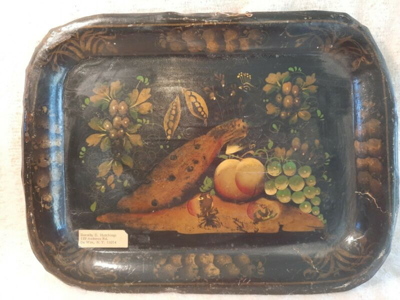 Antique 19thc toleware Handpainted tray small 9in x 12in peacock.