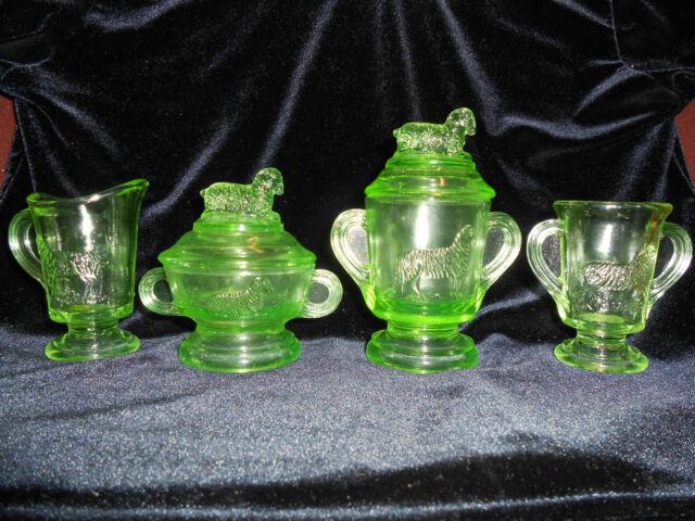 4 Green Vaseline glass Lamb table tea set child cookie jar pitcher sheep Uranium