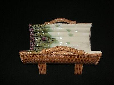 RARE VINTAGE MAJOLICA ASPARAGUS DISH w/ WOVEN BASKET EXTERIOR - Q MARK - - Asparagus Dish