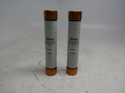 Lot of 2 Bussmann NOS-60 60A Cylindrical General Purpose Class K5 Fuse 600Vac