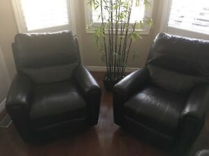 2 Leather Recliner Chairs