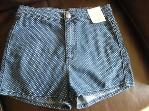 PRIMARK LADIES DENIM SHORTS BNWT SIZE 10 POLKA DOT SUPER HIGH WAIST FREE POST