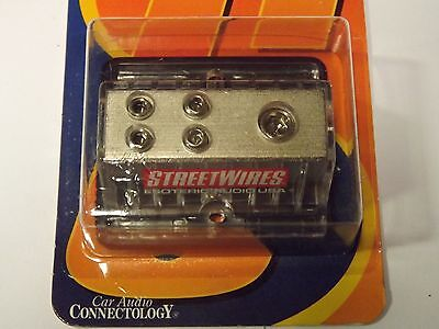STREETWIRES 1- 4 AWG IN 4- 8 AWG OUT POWER DISTRIBUTION BLOCK MADE IN USA
