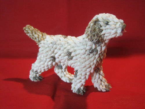 Retriever dog seashell figurine, vintage nautical craft