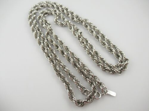 "Signed Monet Silver Tone Long Twist Necklace 55"""