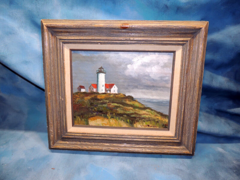Antique Mystery Landscape Painting of a Light House Oil on Canvas Signed/Framed