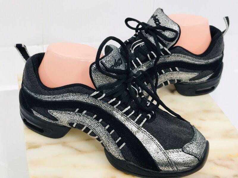 "SKAZZ Sansha Adult ""Electron"" Dance Split Sole Sneaker in black and Silver 9M"