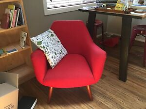 Two chairs - red cloth and black leather: SOLD Hackett North Canberra Preview