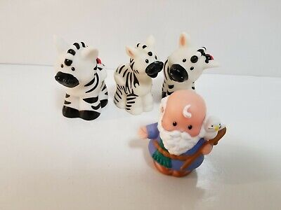Fisher Price Little People Lot of 4: Family of 3 Zebra and Noah (Noah's Ark)
