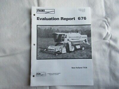 New Holland Tx36 Combine Independent Evaluation Data Report Brochure