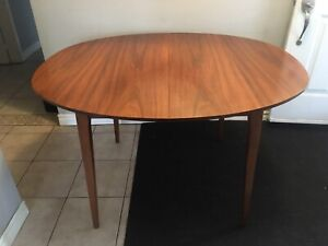 Mid century modern walnut dining table - oval - no leaves -