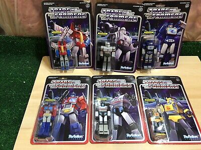 SUPER 7 REACTION TRANSFORMERS FIGURES SET OF 6 MOC OPTIMUS MEGATRON SOUNDWAVE
