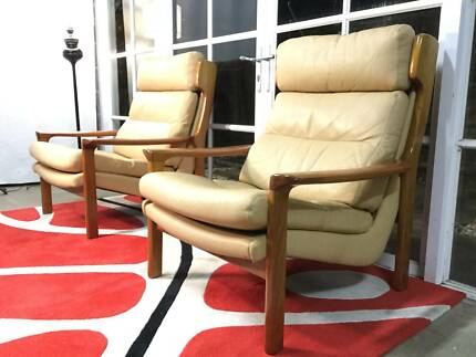 Tessa Retro-Vintage Delmont Armchairs-Leather-Can Deliver