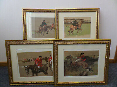 x4 Hunting Types Lionel Edwards Reprints Large Wooden Antique Frames Collectable