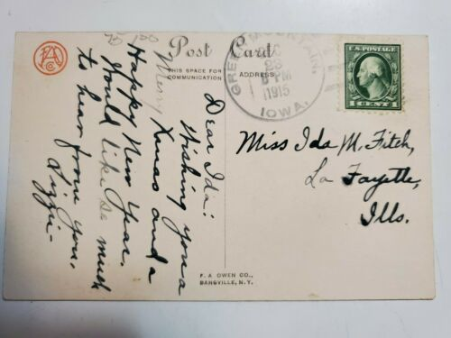 Rare George Washington 1915 One Cent USPS Stamp Postcard Green Stamped Dec 23rd  - $225.00