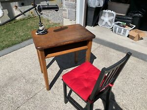 Oak desk with chair and lamp
