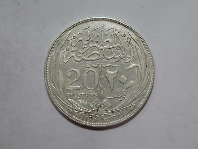 EGYPT AH1335 1917 H 20 PIASTRES CROWN SIZE SILVER TYPE WORLD COIN ⭐