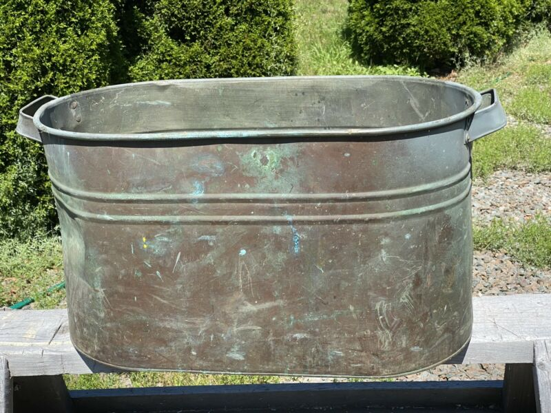 Antique Copper Boiler ~ Verdigris Patina, Metal Handles, No Holes