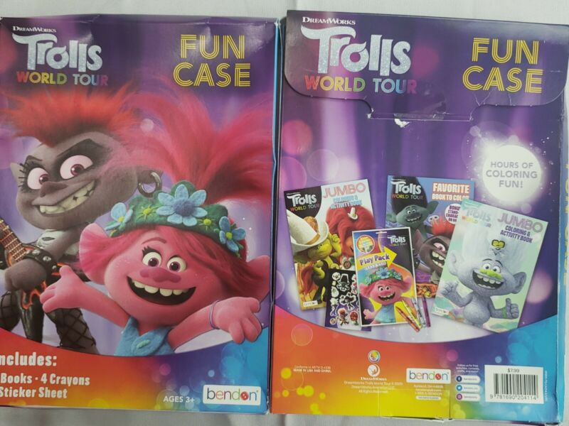 Dream Works Trolls World Tour Fun Case 4 Coloring Books, 4 Crayons, 1 Sticker